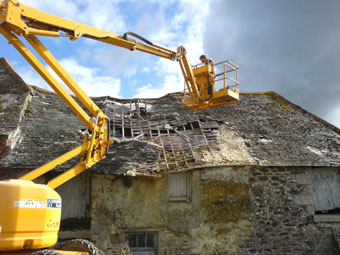 Demolition of an unsafe roof structure at Kestle Barton, Cornwall